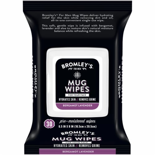 Bromley's™ For Men Bergamot Lavender Mug Wipes Pre-Moistened Face Wipes Perspective: front