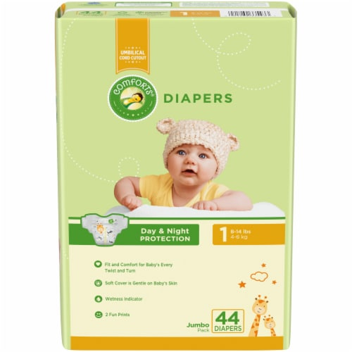 Comforts Size 1 Jumbo Diapers Perspective: front