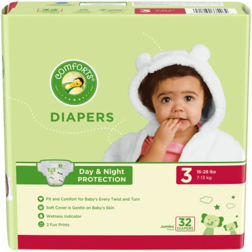 Comforts™ Day & Night Protection Size 3 Baby Diapers Jumbo Pack Perspective: front