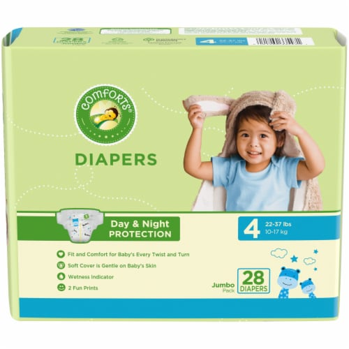 Comforts™ Day & Night Protection Size 4 Baby Diapers Jumbo Pack Perspective: front