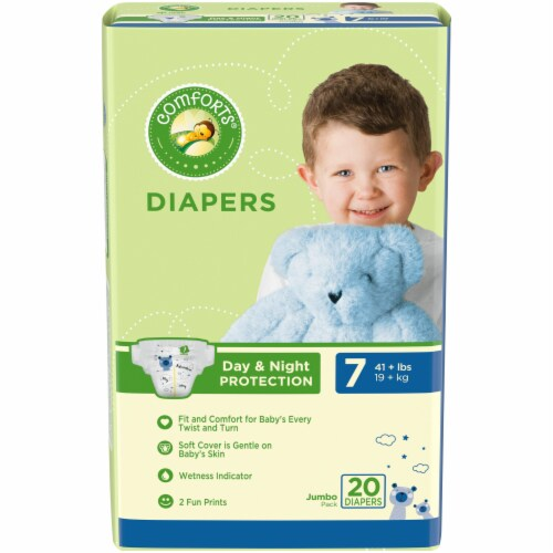 Comforts™ Day & Night Protection Size 7 Baby Diapers Jumbo Pack Perspective: front