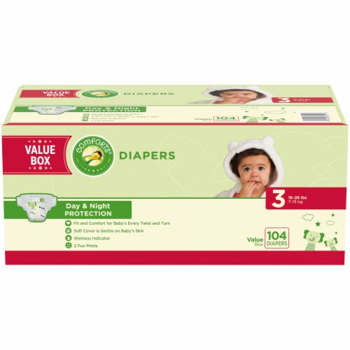 Comforts Size 3 Diapers 104 Count Perspective: front