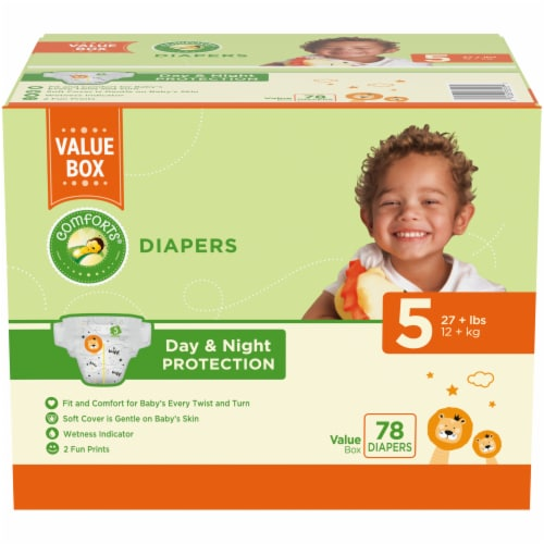 Comforts™ Day & Night Protection Size 5 Baby Diapers Value Pack Perspective: front
