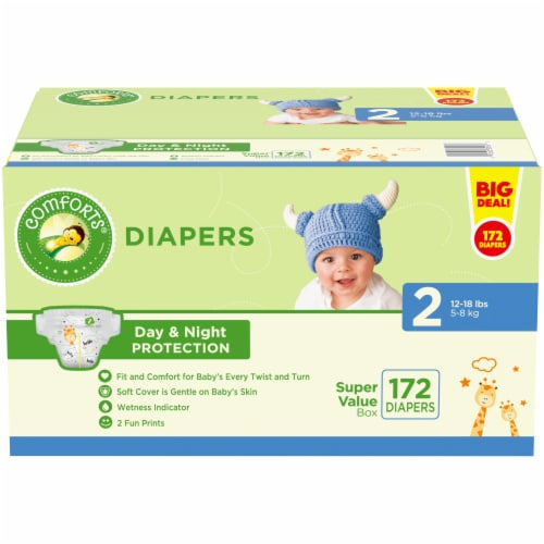 Comforts Size 2 Diapers 172 Count Perspective: front