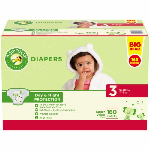 Comforts™ Day & Night Protection Size 3 Baby Diapers Super Value Pack Perspective: front