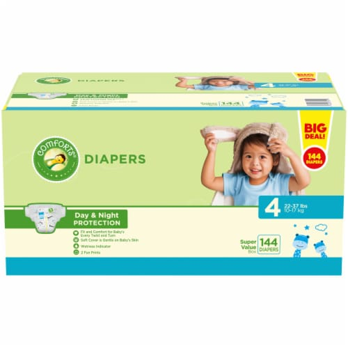 Comforts Size 4 Diapers 144 Count Perspective: front