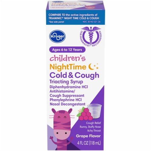 Kroger® Children's Grape Flavor Night Time Cold & Cough Liquid Medicine Perspective: front