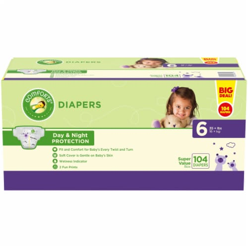 Comforts™ Day & Night Protection Size 6 Baby Diapers Super Value Pack Perspective: front