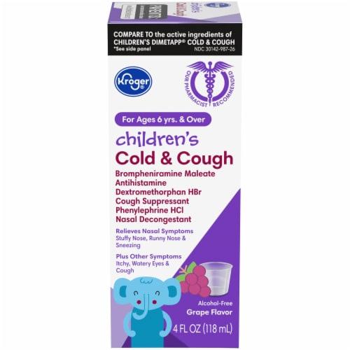 Kroger® Children's Grape Flavor Cold & Cough Liquid Medicine Perspective: front