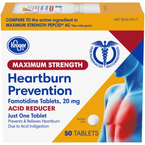 Kroger® Maximum Strength Acid Reducer Heartburn Prevention Tablets Perspective: front