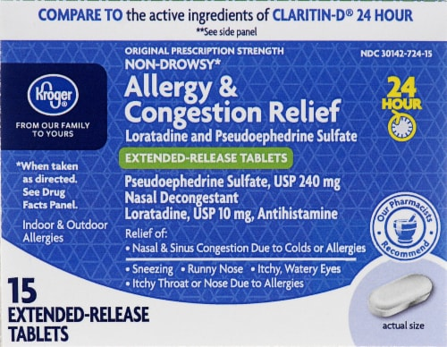 Kroger® 24 Hour Allergy & Congestion Relief Tablets Perspective: front