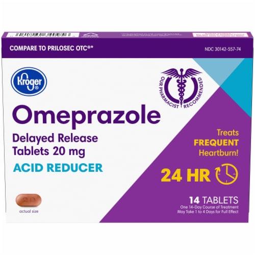 Kroger® Omeprazole Acid Reducer Delayed Release Tablets 20mg Perspective: front