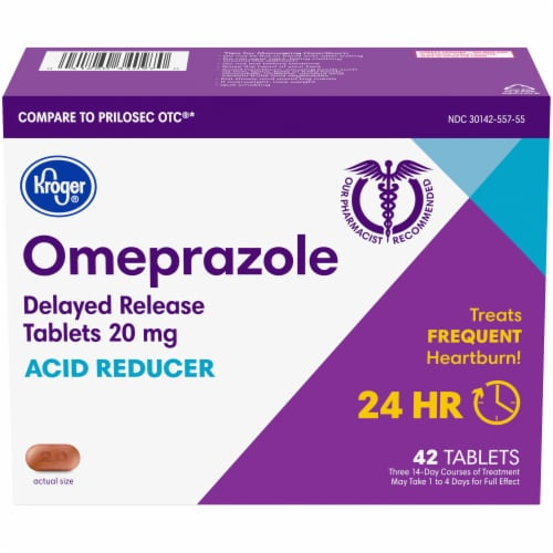 Kroger® Omeprazole Acid Reducer Delayed Release Tablets 20mg Perspective: front