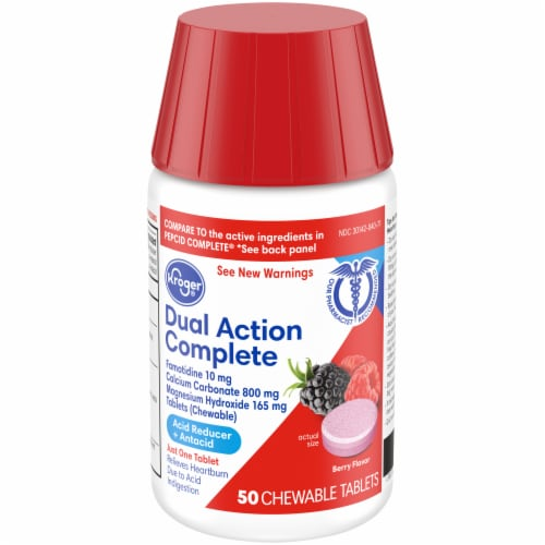 Kroger® Dual Action Complete Berry Flavor Acid Reducer + Antacid Chewable Tablets 50 Count Perspective: front