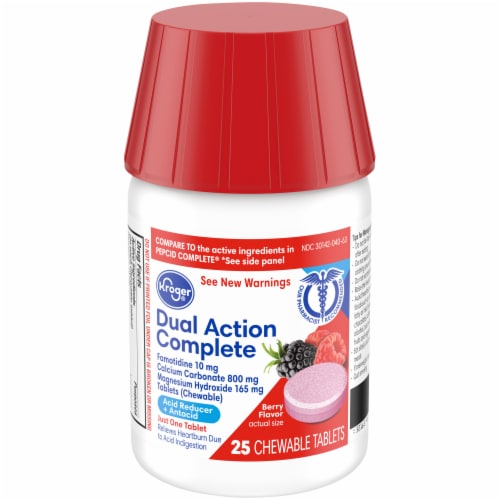 Kroger® Dual Action Complete Berry Acid Reducer & Antacid Chewable Tablets Perspective: front