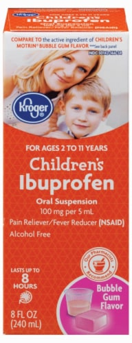 Kroger® Children's Ibuprofen Bubble Gum Flavor Oral Suspension Perspective: front