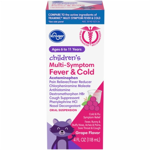 Kroger® Childrens Grape Multi-Symptom Fever & Cold Relief Liquid Perspective: front