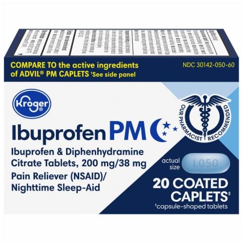 Kroger® Ibuprofen PM Coated Caplets Perspective: front