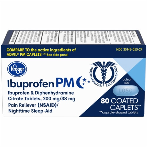 Kroger® Ibuprofen PM Coated Caplets 200mg Perspective: front