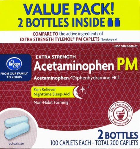 Kroger® Extra Strength Acetaminophen PM Caplets Value Pack Perspective: front