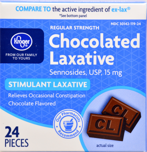 Kroger® Chocolate Regular Strength Stimulant Laxative Perspective: front