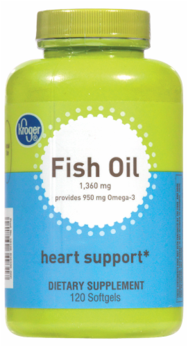 Kroger® Fish Oil Heart Support Softgels 1360mg Perspective: front