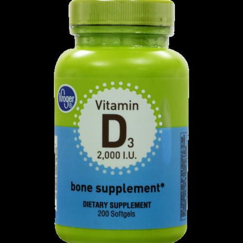 Kroger® Vitamin D3 Bone Supplement Softgels 2000 IU Perspective: front