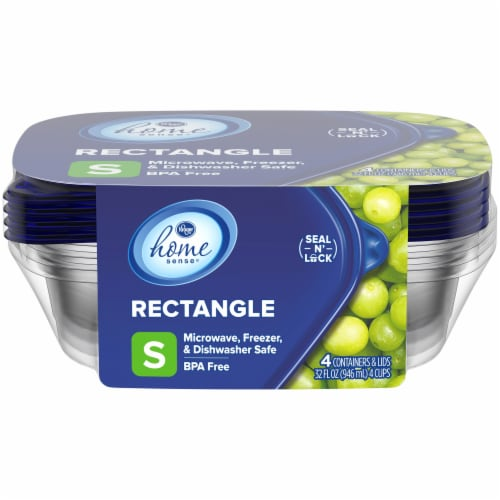 Kroger® Small Rectangle Food Storage Containers - Clear/Blue Perspective: front