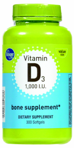 Kroger® Vitamin D3 Bone Supplement Softgels 1000 IU Perspective: front