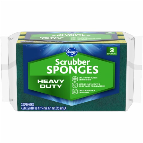 Kroger® Heavy Duty Scrubber Sponges - 3 Pack - Green/Yellow Perspective: front