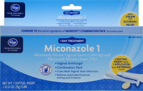 Kroger® Miconazole 1 Vaginal Antifungal Combination Pack Perspective: front