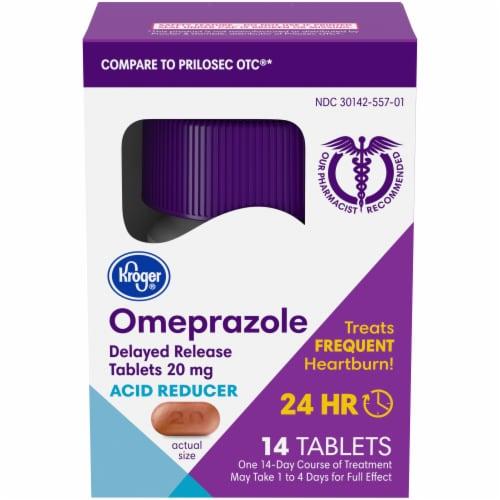 Kroger® Omeprazole Acid Reducer Delayed Release Tablets Perspective: front
