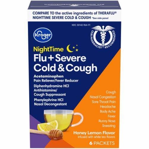 Kroger® NiteTime Honey Lemon Flavor Flu + Severe Cold & Cough Packets Perspective: front