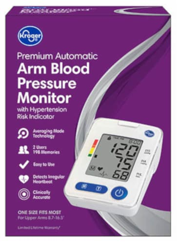 Kroger® Premium Automatic Arm Blood Pressure Monitor with Hypertension Risk Indicator Perspective: front