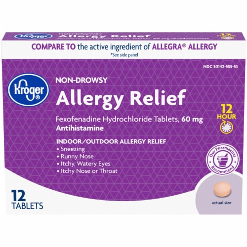 Kroger® Non-Drowsy 12 Hour Allergy Relief Tablets 60mg 12 Count Perspective: front