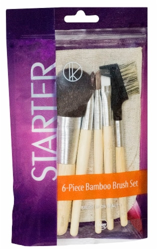 Daily Mirra 6 Piece Bamboo Travel Brush Set Perspective: front