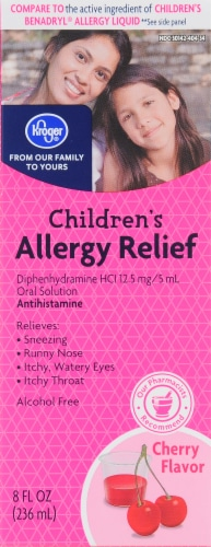Kroger® Cherry Flavored Children's Allergy Liquid Antihistamine Perspective: front