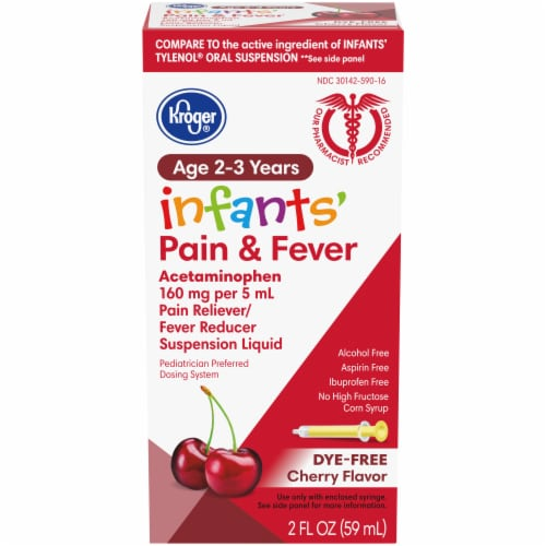 Kroger® Infants' Cherry Dye-Free Pain Reliever & Fever Reducer Suspension Liquid 160mg Perspective: front