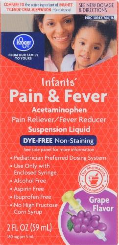 Kroger® Infants' Dye-Free Pain & Fever Suspension Liquid Perspective: front
