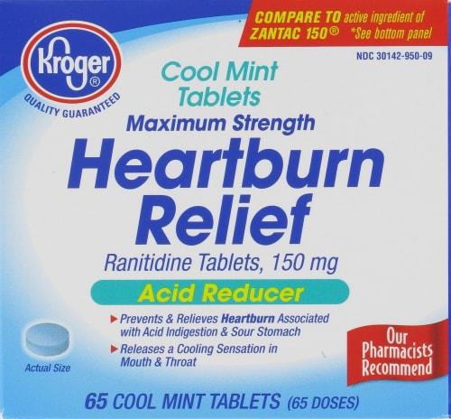 Kroger® Cool Mint Acid Relief Heartburn Relief Tablets Perspective: front