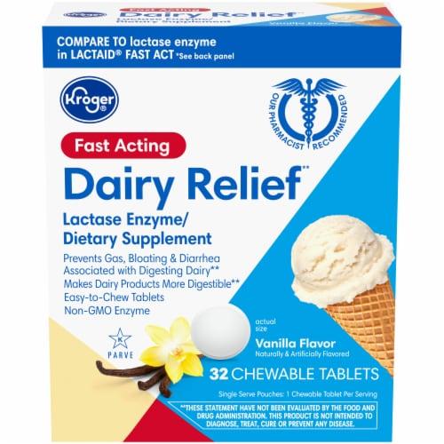 Kroger® Vanilla Flavor Dairy Relief Chewable Tablets Perspective: front