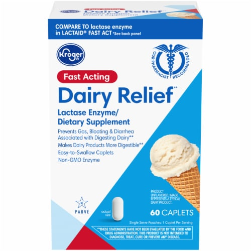 Kroger® Fast Acting Dairy Relief Caplets Perspective: front