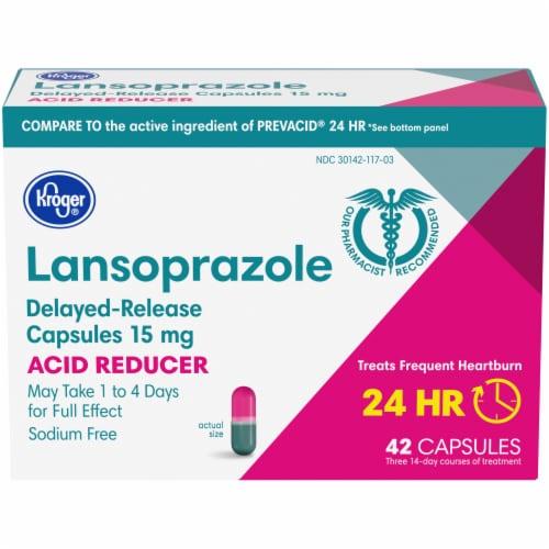 Kroger® Lansoprazole 24 Hour Acid Reducer Delayed Release Capsules 15mg Perspective: front