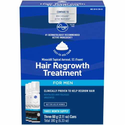 Kroger® 5% Minoxidil 90-Day Foam Hair Regrowth Treatment for Men Perspective: front