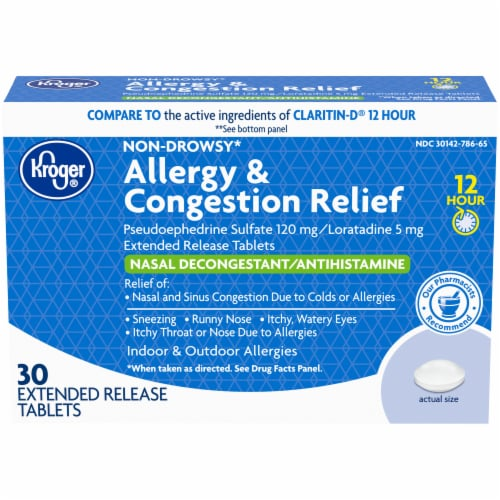 Kroger® 12 Hour Allergy & Congestion Relief Tablets Perspective: front