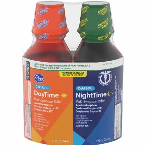 Kroger® Daytime / NiteTime Liquid Cold & Flu Combo Medicine Perspective: front