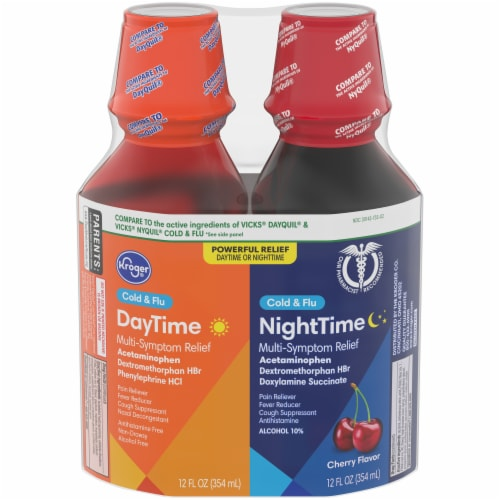 Kroger® DayTime & NightTime Cherry Cold & Flu Relief Liquid Perspective: front