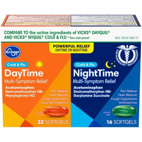 Kroger® Daytime/NiteTime Cold & Flu Softgels Perspective: front