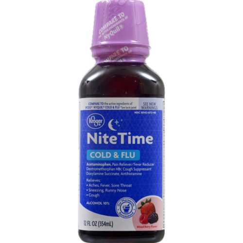 Kroger® Mixed Berry Multi-Symptom Night Time Liquid Cold & Flu Relief Perspective: front
