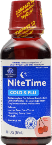 Kroger® Cherry Flavor Nighttime Cold & Flu Relief Liquid Perspective: front